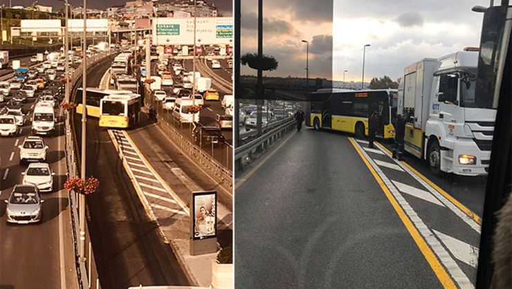 Okmeydanı'nda metrobüs kaza yaptı! Seferler durduruldu