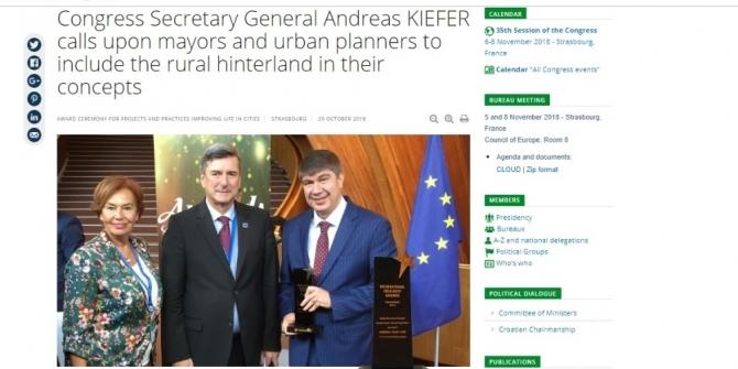 Uluslararası İdeal Kent Ödülü Avrupa'da geniş yankı buldu