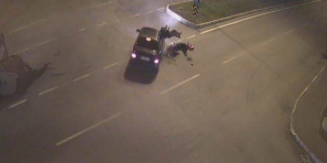 Sürücünün öldüğü motosiklet kazası kamerada