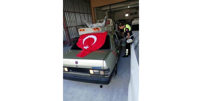 Otomobiliyle drift yapıp, kaçan sürücüye 7 bin 696 TL lira ceza