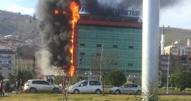 Trabzon Avrasya Üniversitesinde yangın çıktı!
