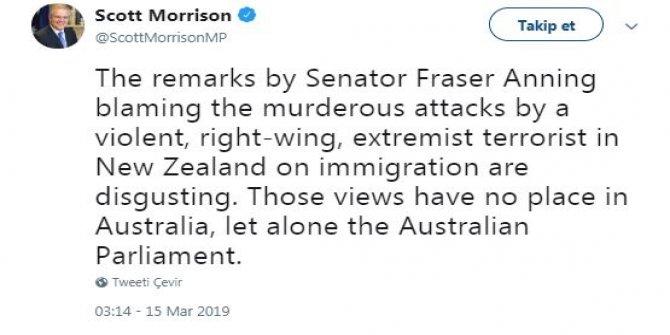 Avustralyalı Senatörün ırkçı sözlerine, Başbakan'dan tepki