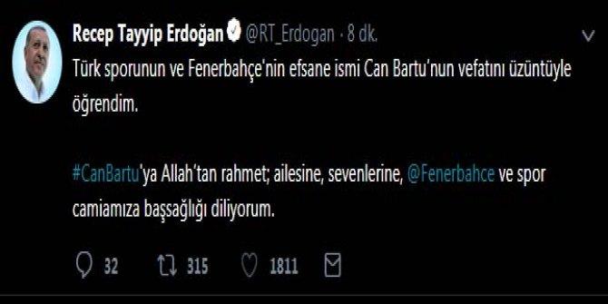 Erdoğan'dan 'Can Bartu' mesajı