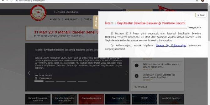 YSK sandık bilgisi sorgulama ekranını kullanıma açtı