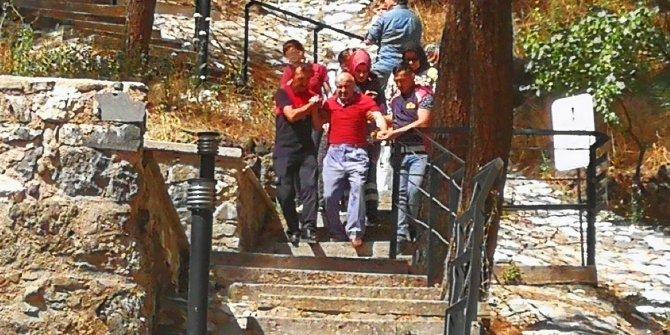 Kalede fenalaşan ziyaretçi, ekipler tarafından indirildi