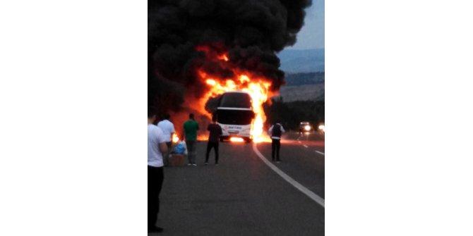Yolcu otobüsündeki yangın motordan çıkmış