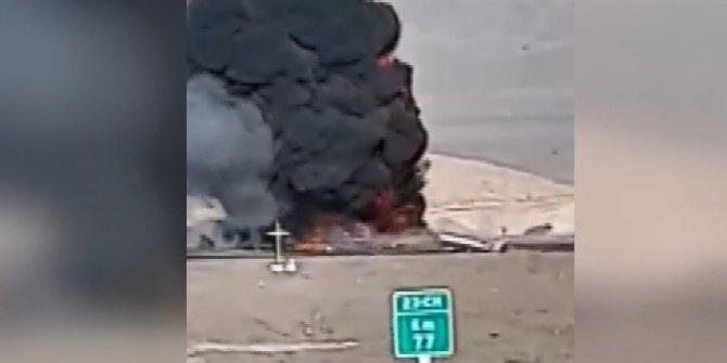 Akaryakıt tankerinde kaza sonrası patlama: 2 ölü.. O anlar kamerada