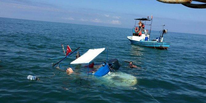 Alaplı'da batan balıkçı teknesi kurtarıldı