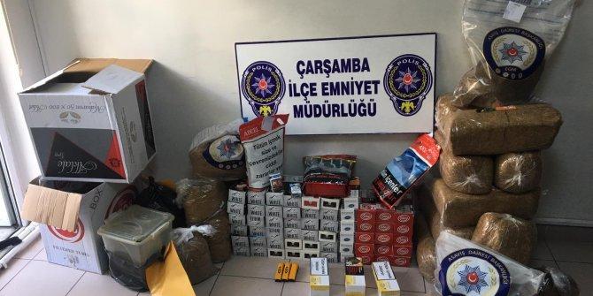 Çarşamba'da, 'Duman' operasyonunda 84 kilo kaçak tütün ele geçirildi