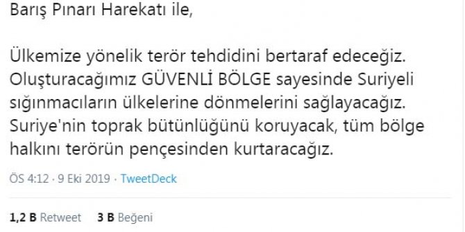 Erdoğan: Barış Pınarı Harekatı başlamıştır