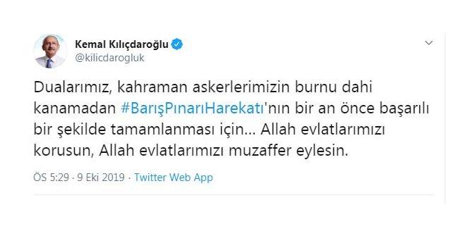 Kılıçdaroğlu: Dularımız, harekatın bir an önce başarılı bir şekilde tamamlanması için