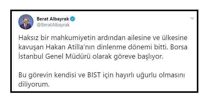 Albayrak: Borsa İstanbul Genel Müdürü Hakan Atilla oldu