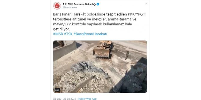 Teröristlere ait tünel ve mevziler kullanılmaz hale getiriliyor