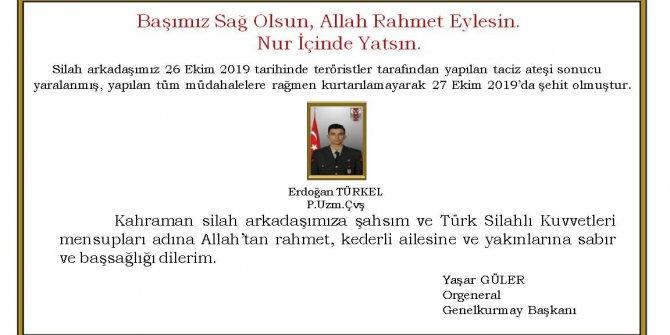 Genelkurmay Başkanı Güler'den başsağlığı mesajı