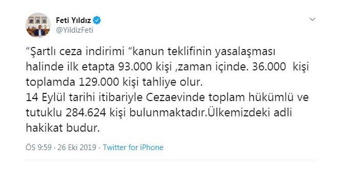 MHP'li Yıldız: Teklifin yasalaşması halinde 129 bin kişi tahliye olacak