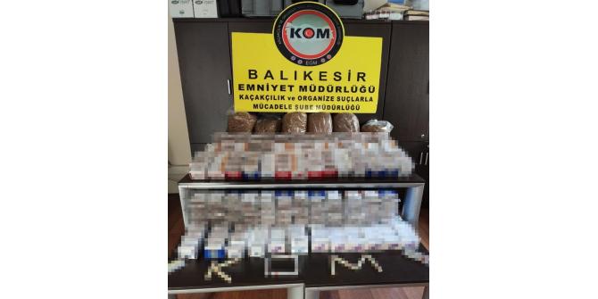 Balıkesir polisinden kaçak sigara ve içki operasyonu