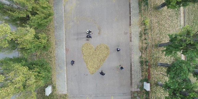 Dökülen yapraklarla kalp yaptılar