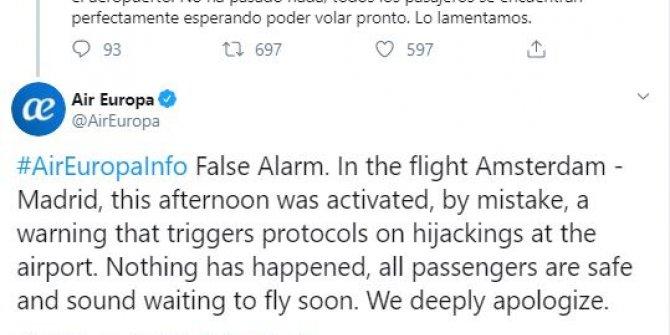 Schipol Havalimanı'nda 'yanlış alarm' paniği