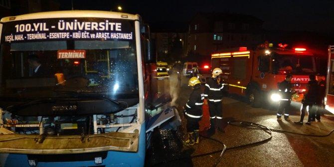 Karabük'te halk otobüsünün motor kısmında yangın