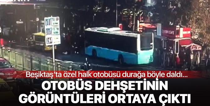 Görüntüler ortaya çıktı! Beşiktaş'ta otobüs durağa böyle daldı
