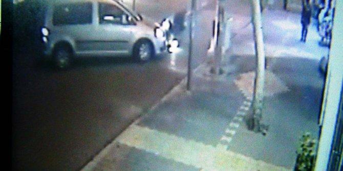Yaralamalı trafik kazası güvenlik kamerasında