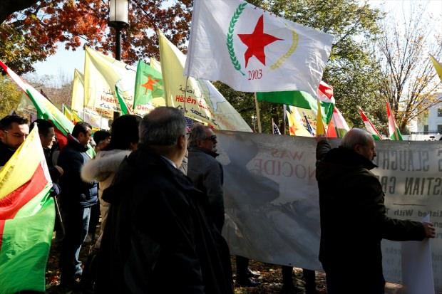 Beyaz Saray önünde protesto! PKK lehine sloganlar atıldı