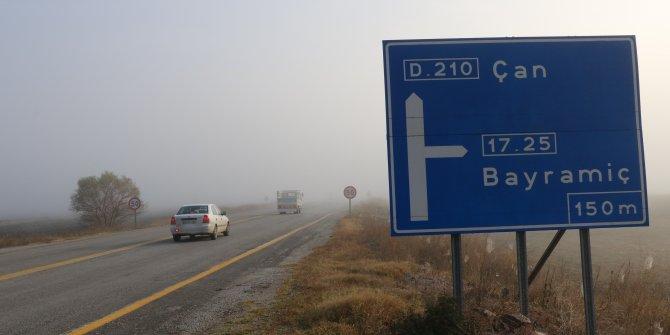 Çanakkale-Çan karayolunda yoğun sis