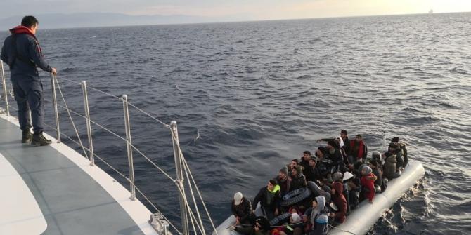 Kuşadası'nda 46 düzensiz göçmen yakalandı.