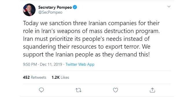 Pompeo: İran, terör ihracatı yapmak yerine halkının ihtiyaçlarını ele almalı