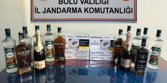 Bolu'da, kaçak içki ve sigara operasyonu: 2 gözaltı