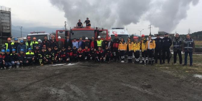 Termik santralde deprem ve yangın tatbikatı gerçekleştirildi