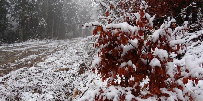 Karabük'ün yüksek kesimlerinde kar yağışı