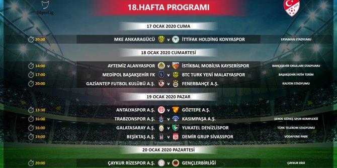 Süper Lig'de 18, 19 ve 20'nci haftanın programı açıklandı