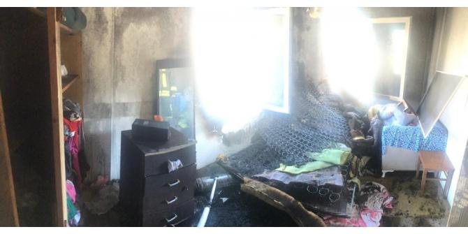 Devrilen soba yangına neden oldu