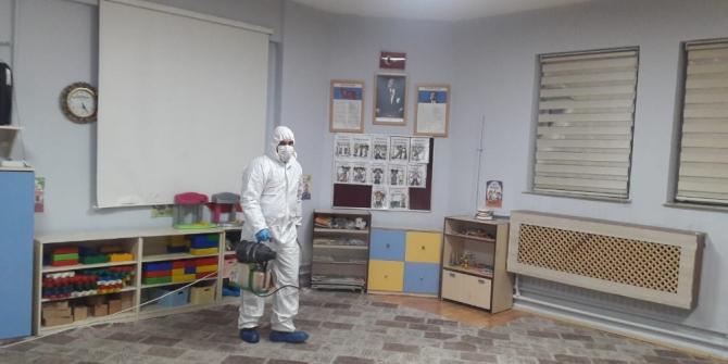 Hakkari'deki anaokulunda dezenfekte yapıldı