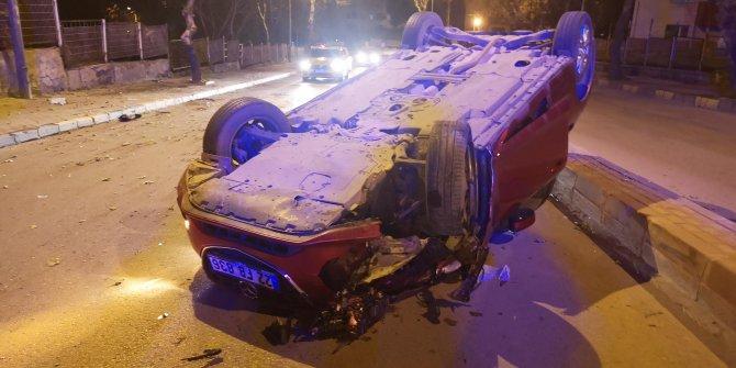 Otomobil takla attı, sürücü kaçtı