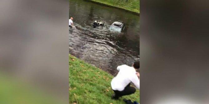 Almanya'da bir Türk, araçlarıyla kanala düşen çifti kurtardı