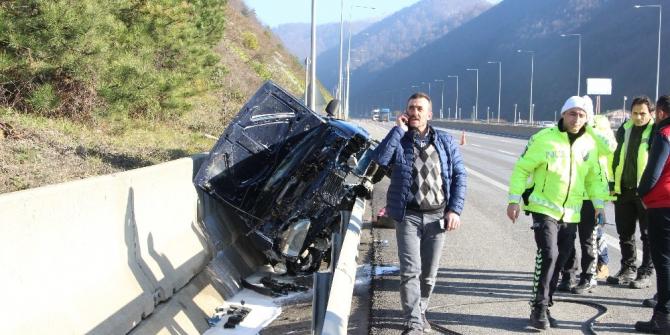 TEM Otoyolunda şaşırtan kaza