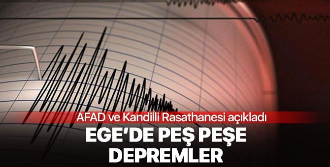 Ege'de peş peşe 3 deprem!