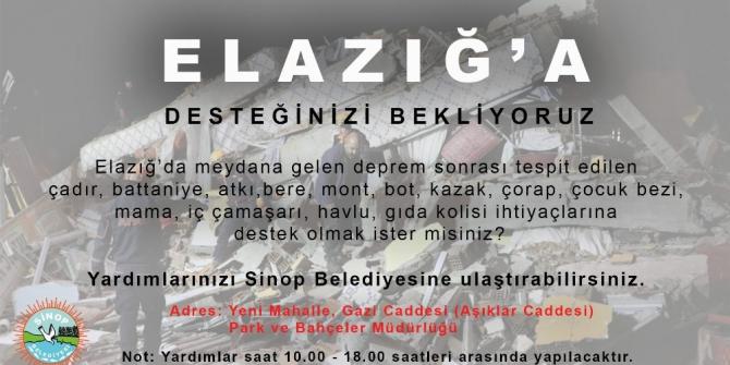 Sinop Belediyesinden Elazığ'a yardım eli