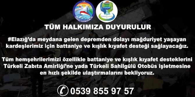 Türkeli'den Elazığ'a yardım eli