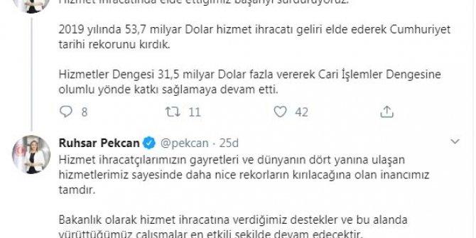 Bakan Pekcan: 2019'da hizmet ihracatında Cumhuriyet tarihi rekorunu kırdık