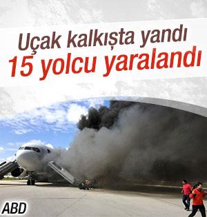 Yolcu uçağı kalkış sırasında yangın çıktı: Yaralılar Var