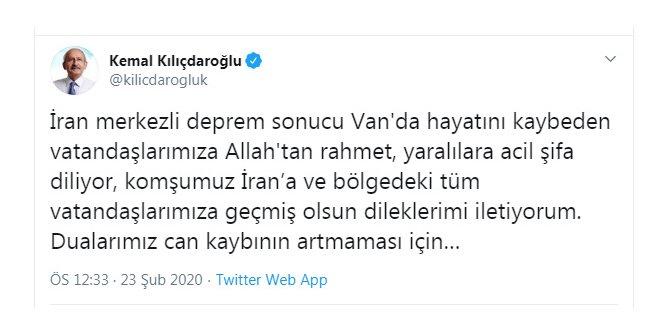 Kılıçdaroğlu'ndan 'deprem' mesajı
