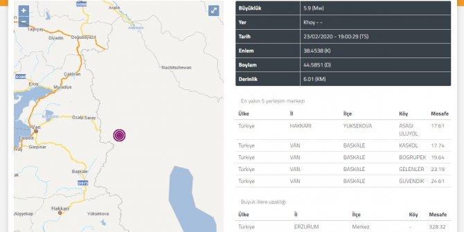 İran sınırında yine 5.9 büyüklüğünde deprem