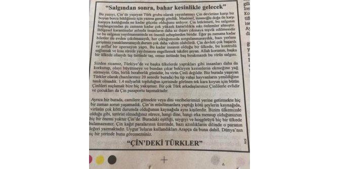 """Çin'deki Türklerden gazete ilanıyla """"korkuyu büyütmeyin"""" çağrısı"""