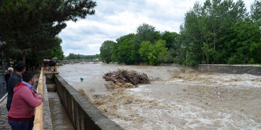Etkili olan yağmur suları Taşköprü'de sele neden oldu