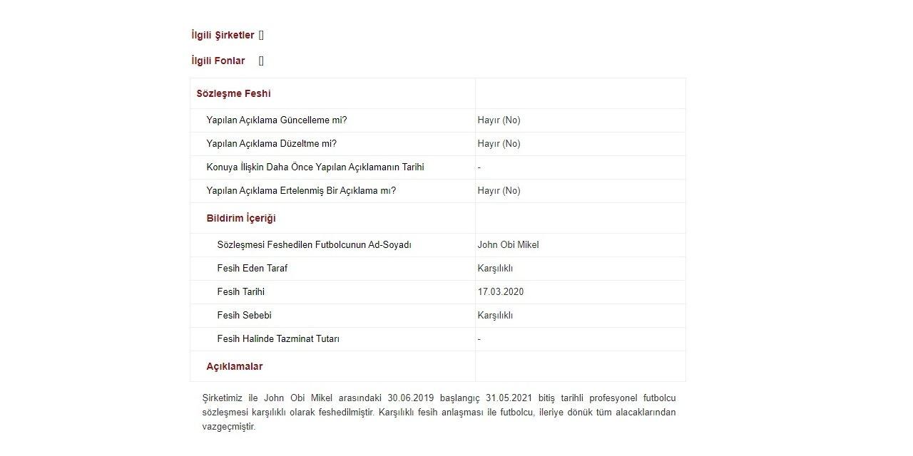Trabzonspor, Obi Mikel ile yollarını ayırdı