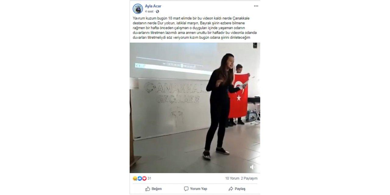 Annesi, kayıp Kader Buse'nin Çanakkale şehitleri için şiir okumasını paylaştı