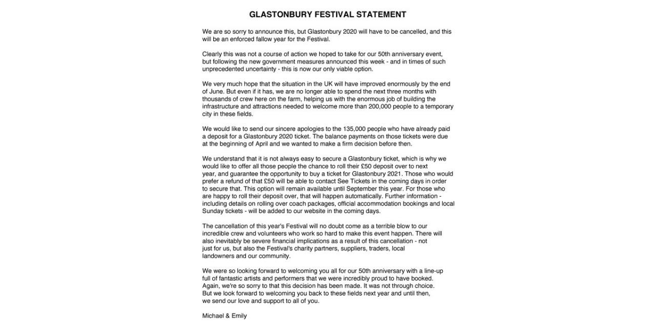 Korona virüs dünyaca ünlü açık hava festivalini iptal ettirdi